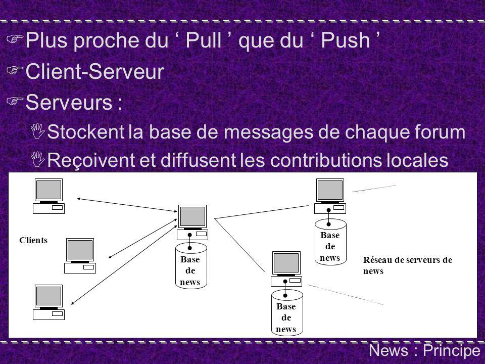 News : Principe Plus proche du Pull que du Push Client-Serveur Serveurs : Stockent la base de messages de chaque forum Reçoivent et diffusent les contributions locales Réseau de serveurs de news Clients Base de news