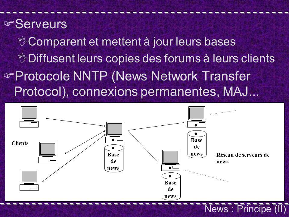 Telnet : Principe Application textuelle, pas graphique Principe Connexion TCP/IP au serveur Caractéristiques du terminal (VT-100) Shell : interface en lignes de commandes (démo) Entrées et sorties redirigées par le réseau vers le client Resultat : Equivalent fenêtre DOS / Xterm sous UNIX Pas local