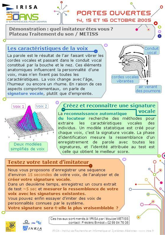 IRISA - Institut de Recherche en Informatique et Systèmes Aléatoires - www.irisa.fr Démonstration : quel imitateur êtes vous ? Plateau Traitement du s