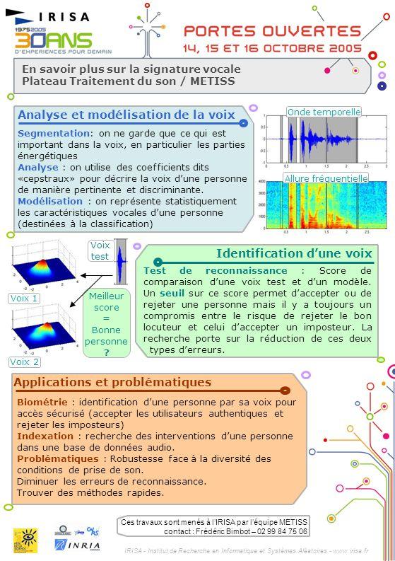 IRISA - Institut de Recherche en Informatique et Systèmes Aléatoires - www.irisa.fr En savoir plus sur la signature vocale Plateau Traitement du son /