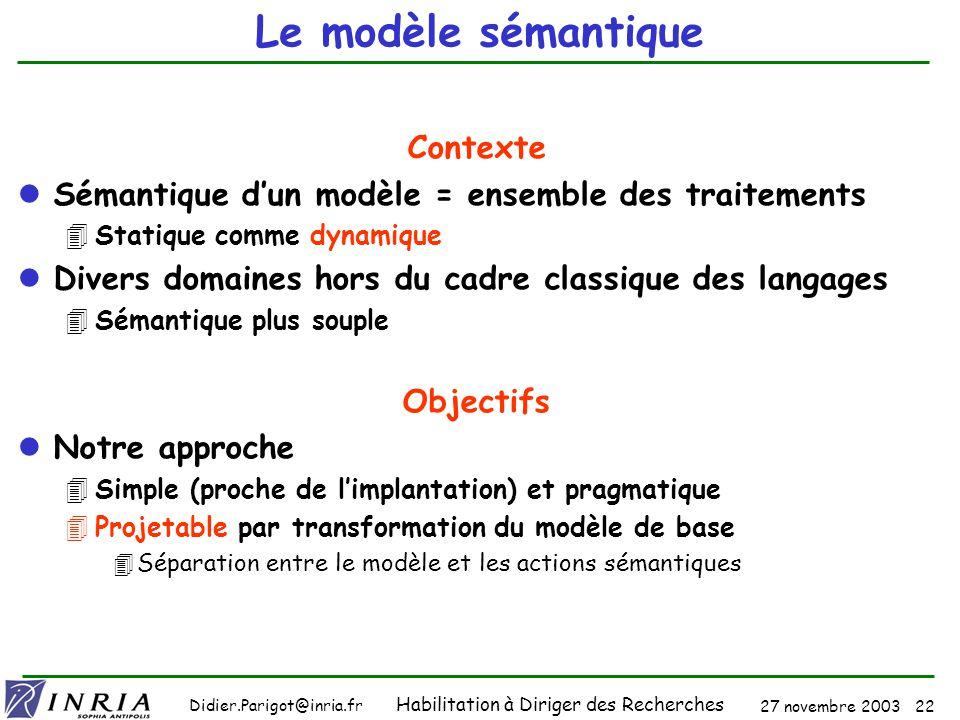 27 novembre 2003 21 Didier.Parigot@inria.fr Habilitation à Diriger des Recherches Le modèle de données : modèle pivot (3) Impact des technologies XML Modélisation UML (programmation OO) 4MOF, méta-langage (les 4 niveaux) 4Modélisation des modèles métiers Base de données XML (XQuery) Web sémantique : Ontologies (RDF) Donnée (interrogation) = Programme (exécution) .