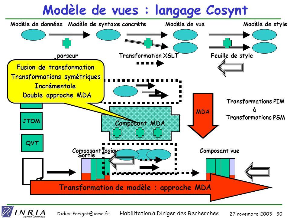 27 novembre 2003 29 Didier.Parigot@inria.fr Habilitation à Diriger des Recherches GUI : Le Modèle de vue Objectifs Mettre la forme logique au centre du débat Définir dabord le modèle de données Merci à XML !.
