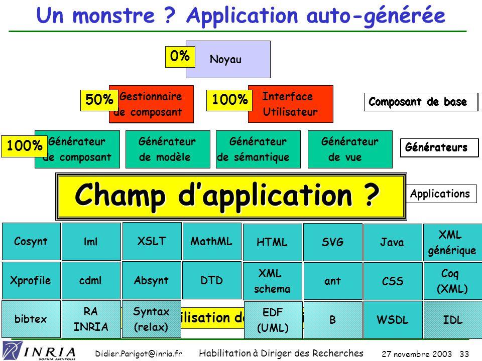 27 novembre 2003 32 Didier.Parigot@inria.fr Habilitation à Diriger des Recherches SmartTools : cest QUOI .