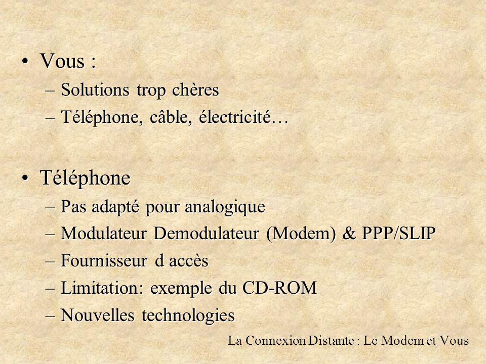 La Connexion Distante : Le Modem et Vous Vous :Vous : –Solutions trop chères –Téléphone, câble, électricité… TéléphoneTéléphone –Pas adapté pour analogique –Modulateur Demodulateur (Modem) & PPP/SLIP –Fournisseur d accès –Limitation: exemple du CD-ROM –Nouvelles technologies