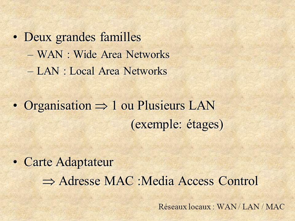 Réseaux locaux : WAN / LAN / MAC Deux grandes famillesDeux grandes familles –WAN : Wide Area Networks –LAN : Local Area Networks Organisation 1 ou Plusieurs LANOrganisation 1 ou Plusieurs LAN (exemple: étages) Carte AdaptateurCarte Adaptateur Adresse MAC :Media Access Control Adresse MAC :Media Access Control