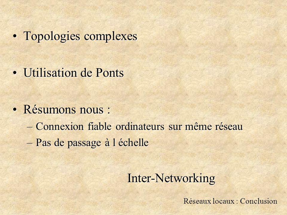 Réseaux locaux : Conclusion Topologies complexesTopologies complexes Utilisation de PontsUtilisation de Ponts Résumons nous :Résumons nous : –Connexion fiable ordinateurs sur même réseau –Pas de passage à l échelle Inter-Networking