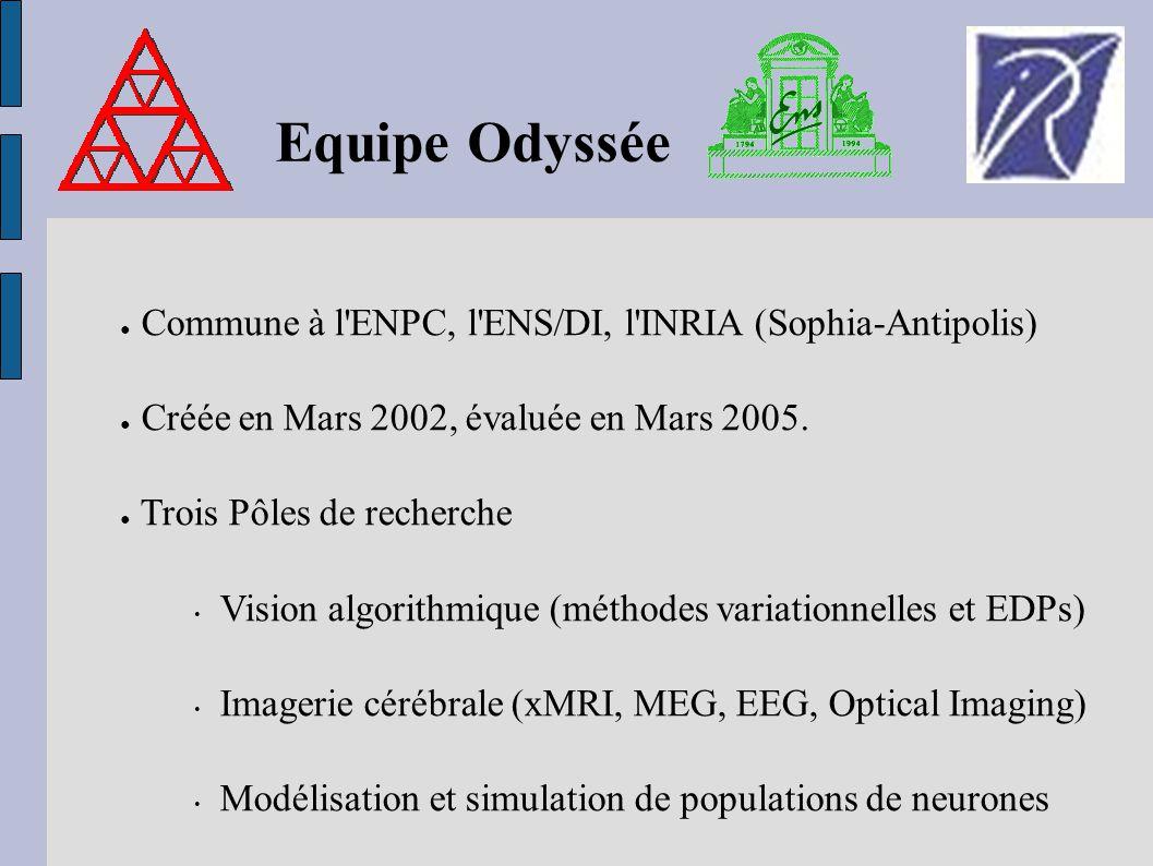 Equipe Odyssée Commune à l'ENPC, l'ENS/DI, l'INRIA (Sophia-Antipolis) Créée en Mars 2002, évaluée en Mars 2005. Trois Pôles de recherche Vision algori