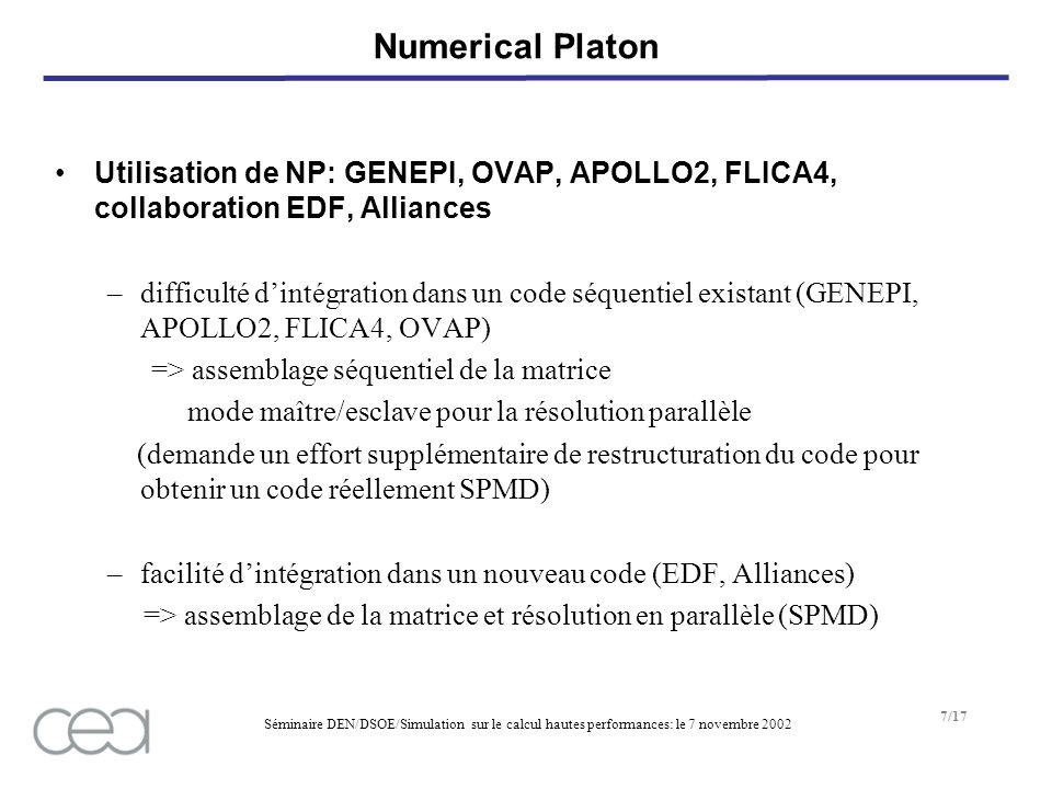Séminaire DEN/DSOE/Simulation sur le calcul hautes performances: le 7 novembre 2002 7/17 Numerical Platon Utilisation de NP: GENEPI, OVAP, APOLLO2, FLICA4, collaboration EDF, Alliances –difficulté dintégration dans un code séquentiel existant (GENEPI, APOLLO2, FLICA4, OVAP) => assemblage séquentiel de la matrice mode maître/esclave pour la résolution parallèle (demande un effort supplémentaire de restructuration du code pour obtenir un code réellement SPMD) –facilité dintégration dans un nouveau code (EDF, Alliances) => assemblage de la matrice et résolution en parallèle (SPMD)