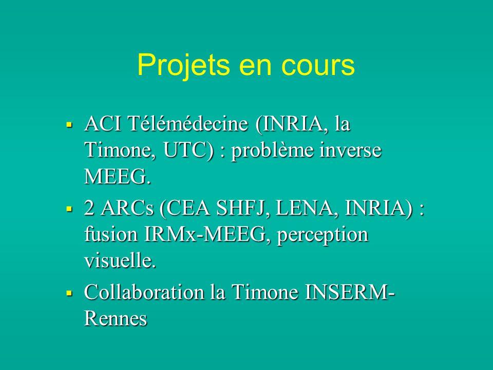 Projets en cours ACI Télémédecine (INRIA, la Timone, UTC) : problème inverse MEEG. ACI Télémédecine (INRIA, la Timone, UTC) : problème inverse MEEG. 2