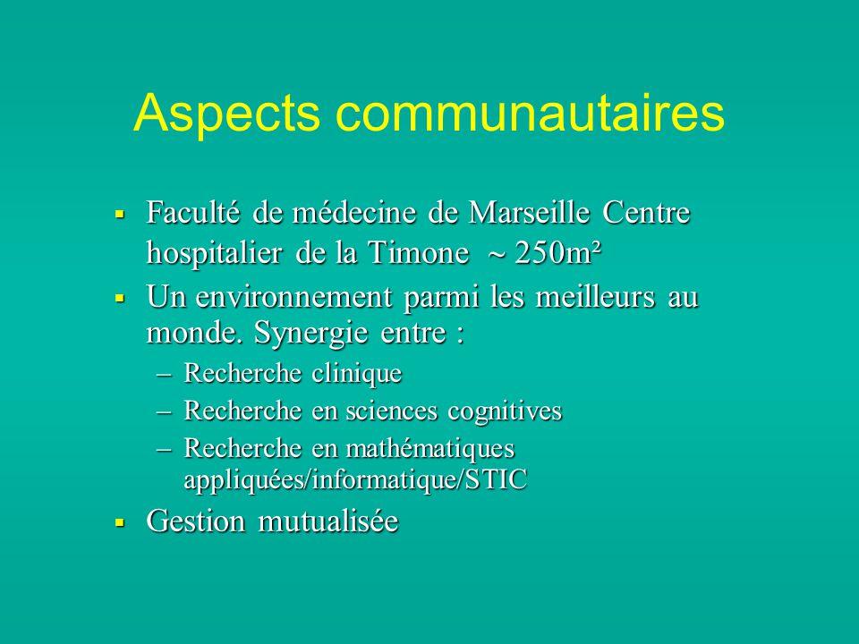 Aspects communautaires Faculté de médecine de Marseille Centre hospitalier de la Timone 250m² Faculté de médecine de Marseille Centre hospitalier de la Timone 250m² Un environnement parmi les meilleurs au monde.