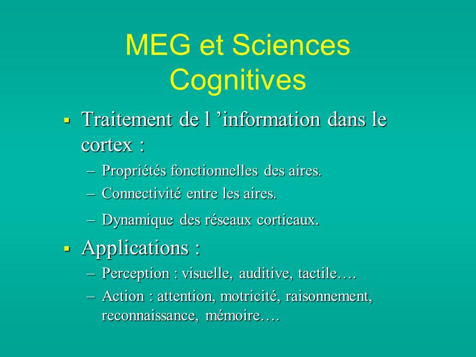 MEG et Sciences Cognitives Traitement de l information dans le cortex : Traitement de l information dans le cortex : –Propriétés fonctionnelles des aires.