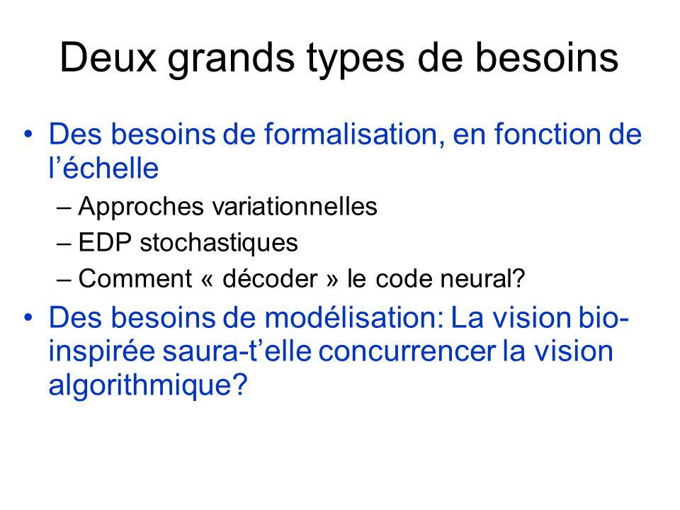 Deux grands types de besoins Des besoins de formalisation, en fonction de léchelle –Approches variationnelles –EDP stochastiques –Comment « décoder » le code neural.