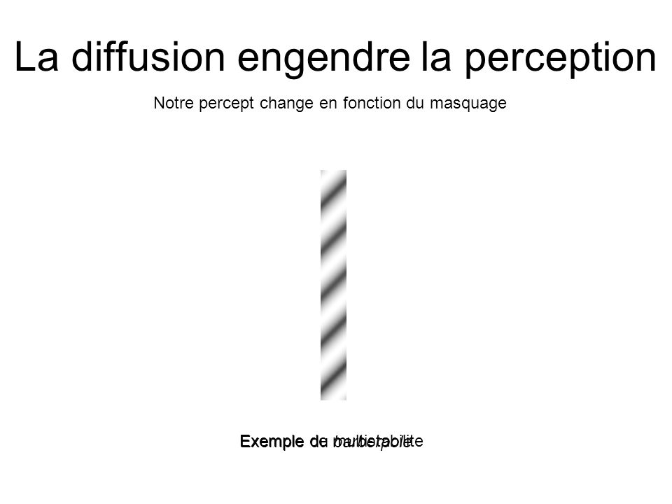 La diffusion engendre la perception Notre percept change en fonction du masquage Exemple du barberpole Exemple de multistabilite