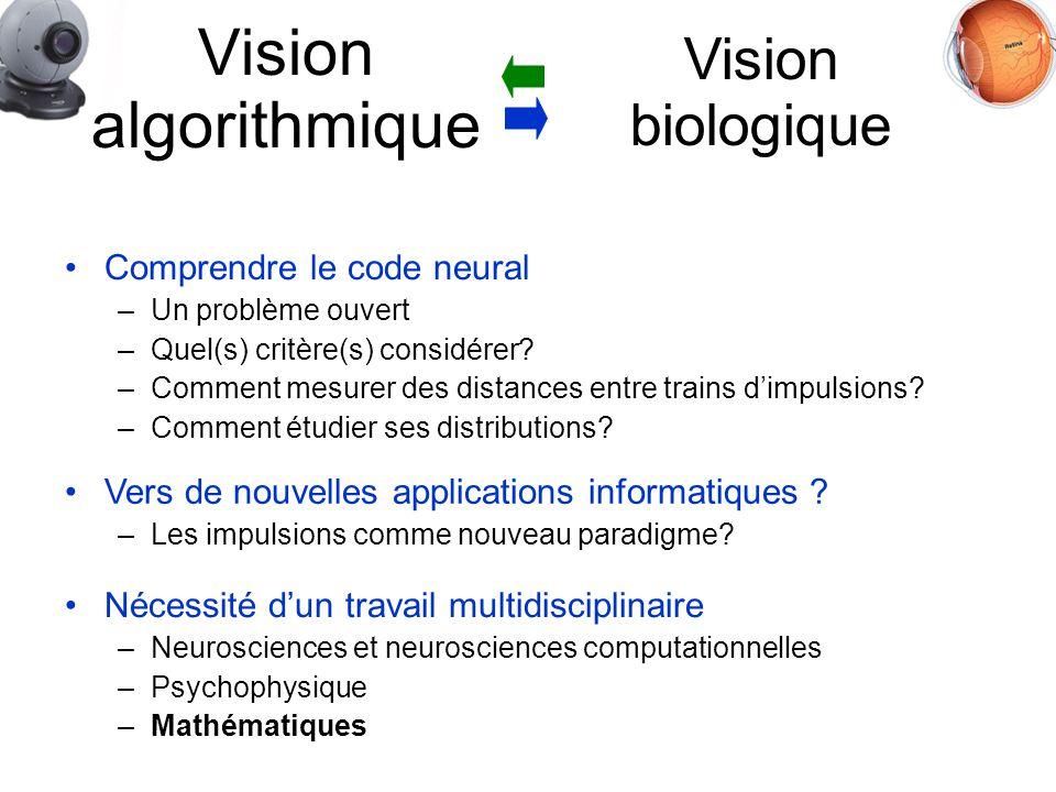 Vision biologique Comprendre le code neural –Un problème ouvert –Quel(s) critère(s) considérer.