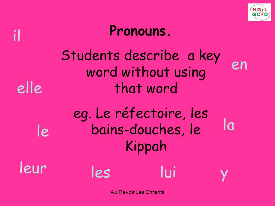 Au Revoir Les Enfants Pronouns.Students describe a key word without using that word eg.
