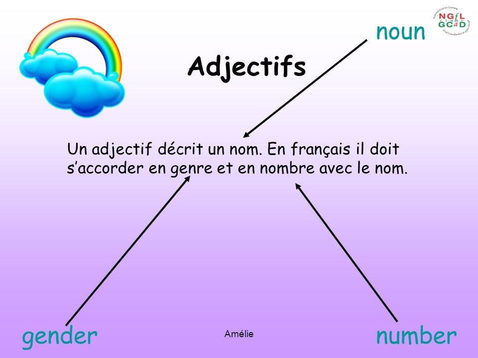 Amélie Adjectifs Un adjectif décrit un nom. En français il doit saccorder en genre et en nombre avec le nom. noun gendernumber