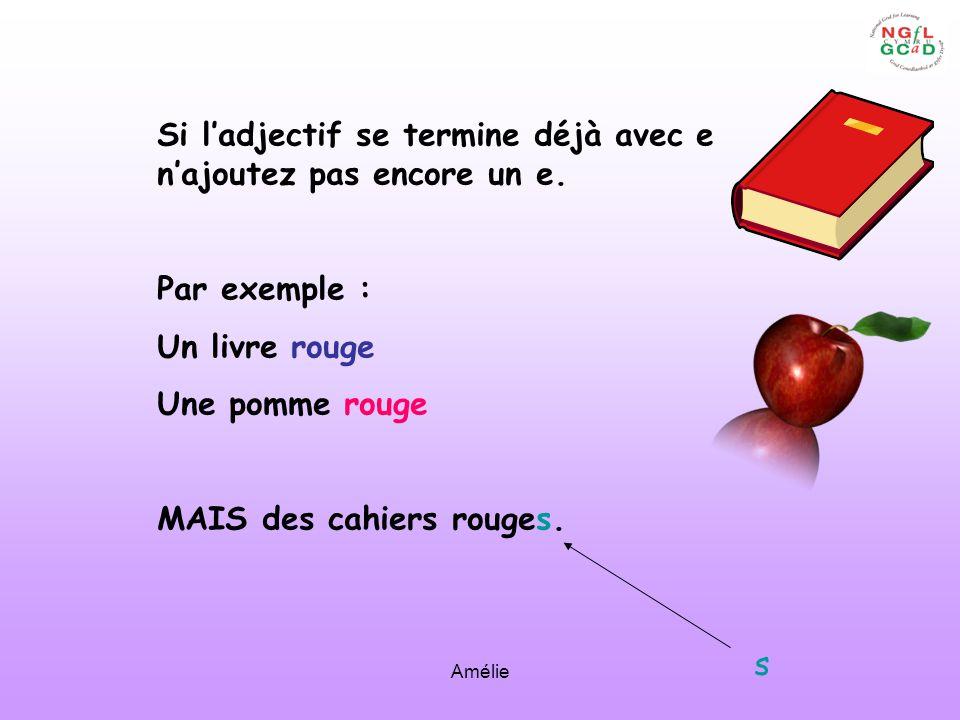 Amélie Si ladjectif se termine déjà avec e najoutez pas encore un e. Par exemple : Un livre rouge Une pomme rouge MAIS des cahiers rouges. s