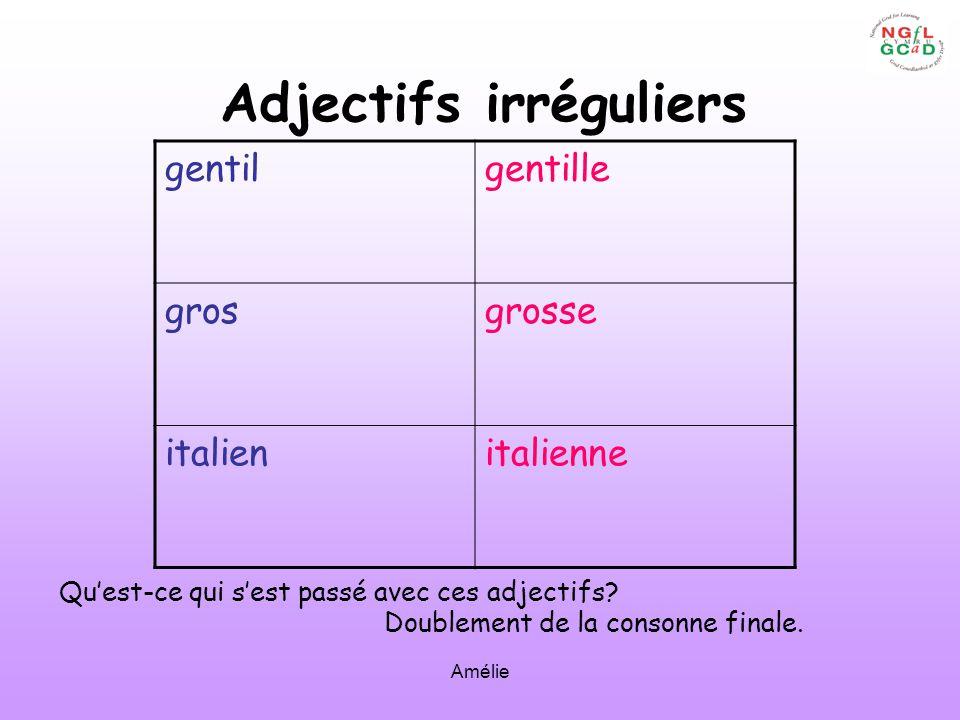 Amélie Adjectifs irréguliers gentilgentille grosgrosse italienitalienne Quest-ce qui sest passé avec ces adjectifs? Doublement de la consonne finale.