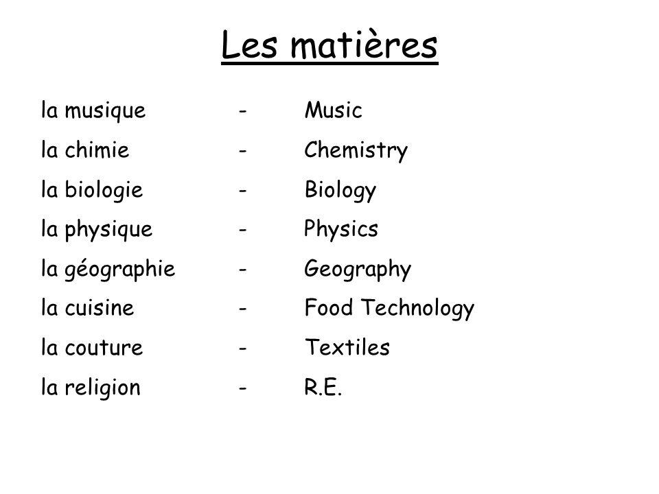 Les matières la musique-Music la chimie-Chemistry la biologie-Biology la physique-Physics la géographie-Geography la cuisine-Food Technology la coutur