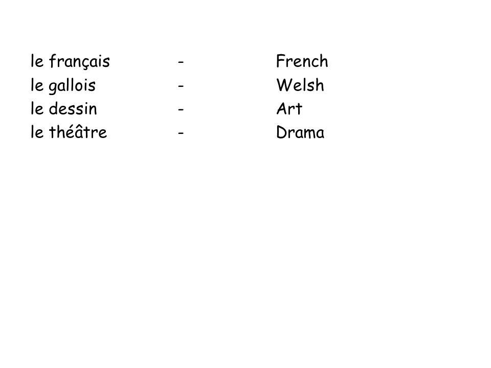 le français-French le gallois-Welsh le dessin-Art le théâtre-Drama