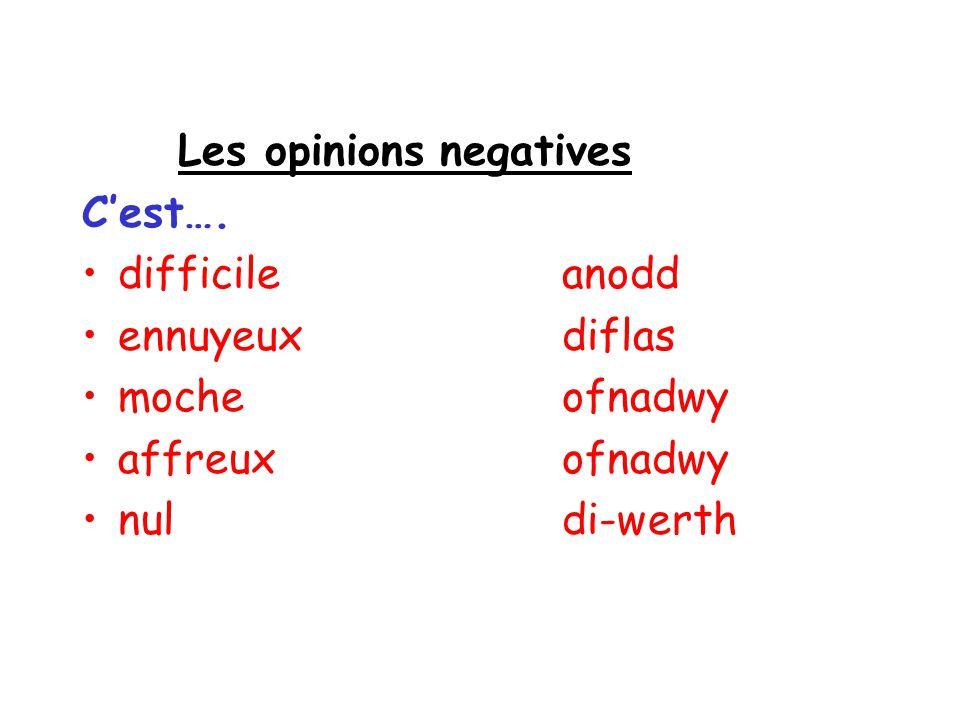 Les opinions negatives Cest…. difficileanodd ennuyeuxdiflas mocheofnadwy affreuxofnadwy nuldi-werth