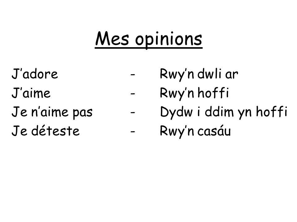 Mes opinions Jadore-Rwyn dwli ar Jaime-Rwyn hoffi Je naime pas-Dydw i ddim yn hoffi Je déteste-Rwyn casáu