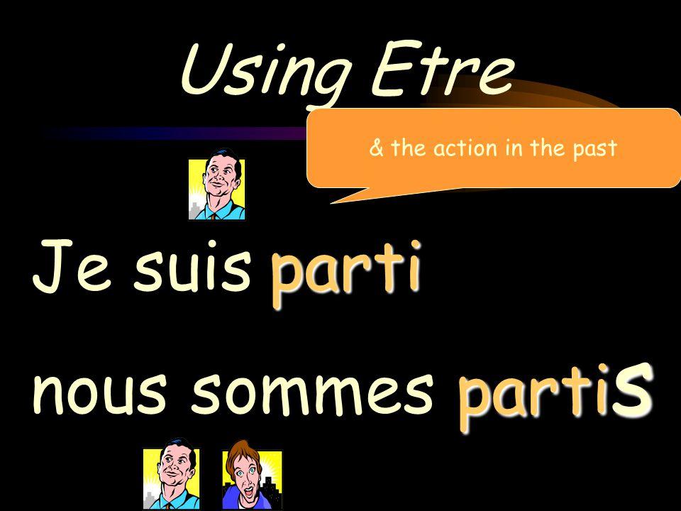 Using Etre Je suis nous sommes allé allés & the action in the past