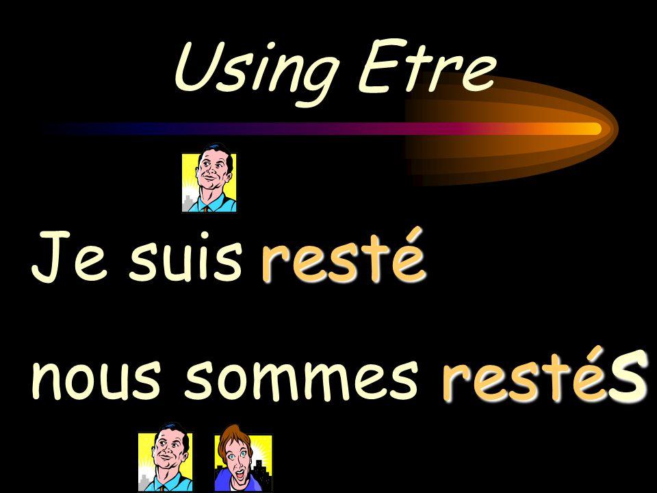 Using Etre Je suis nous sommes parti partis & the action in the past