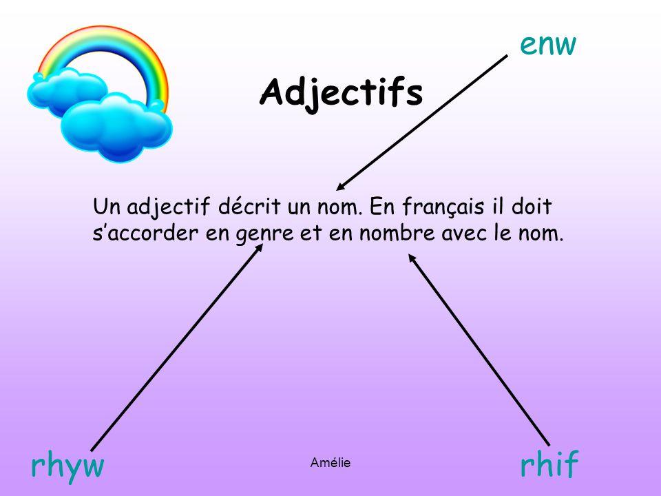 Amélie Adjectifs Un adjectif décrit un nom.