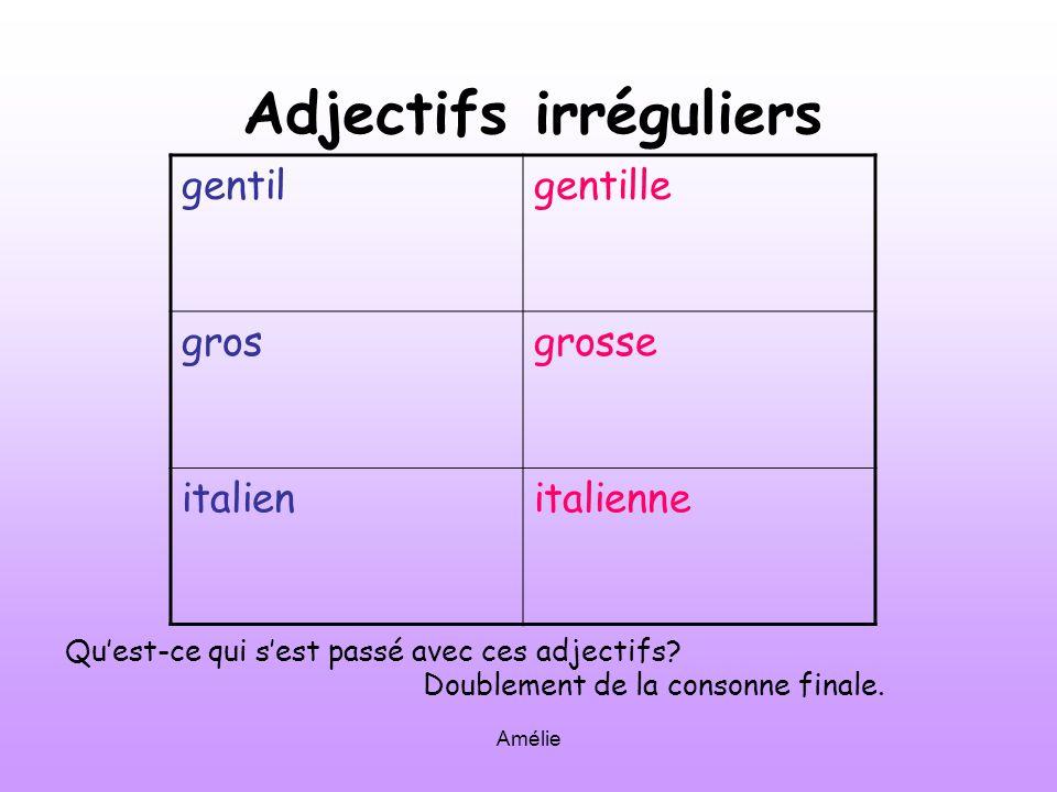Amélie Adjectifs irréguliers gentilgentille grosgrosse italienitalienne Quest-ce qui sest passé avec ces adjectifs.