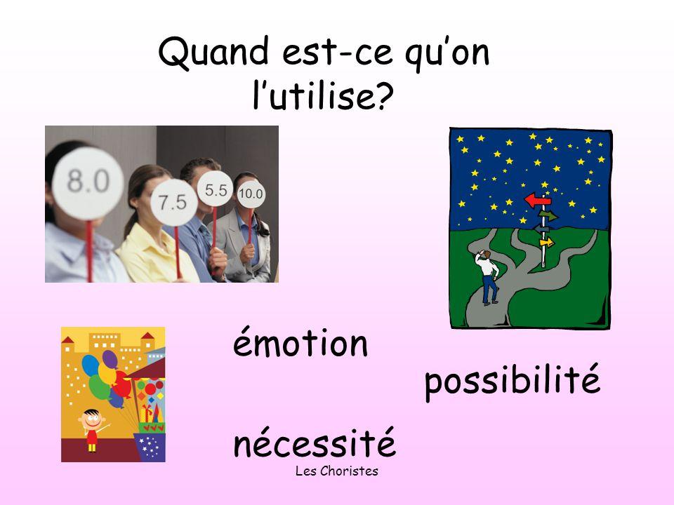 Les Choristes Alors on lutilise après expressions dopinion, de possibilité et de doute e.g.