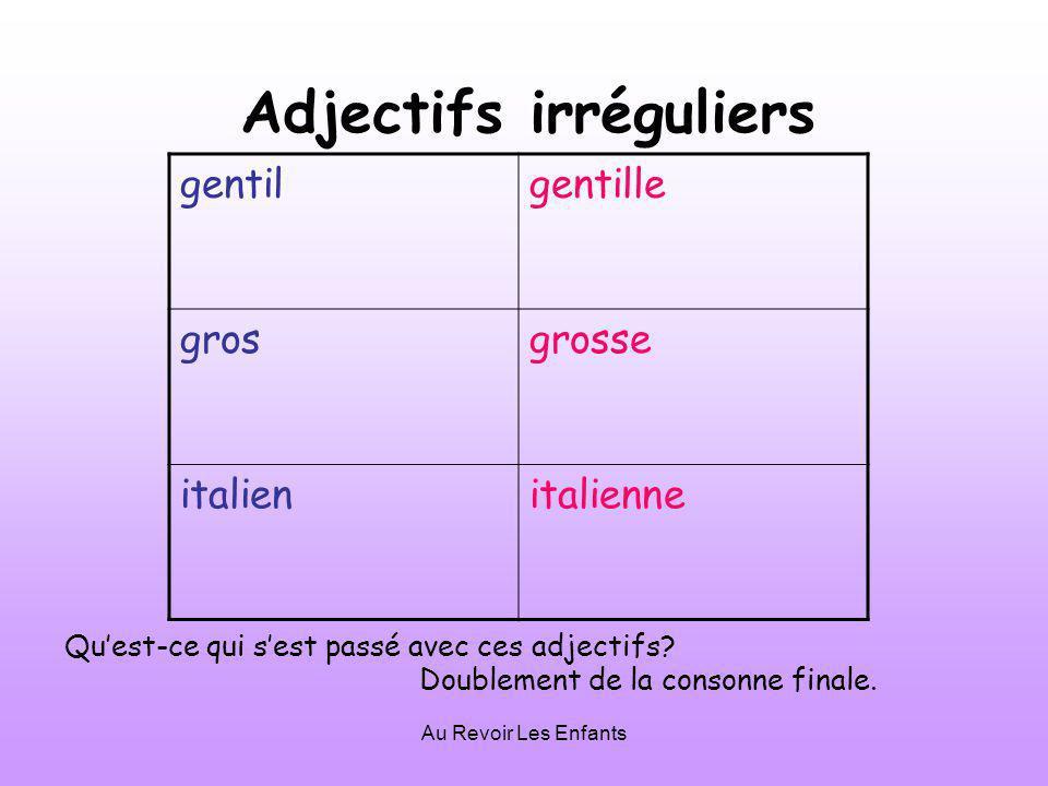 Au Revoir Les Enfants Adjectifs irréguliers gentilgentille grosgrosse italienitalienne Quest-ce qui sest passé avec ces adjectifs.