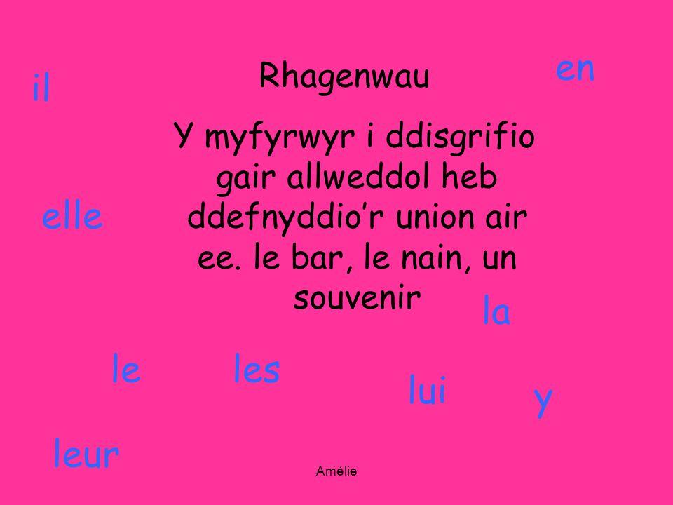 Amélie Rhagenwau Y myfyrwyr i ddisgrifio gair allweddol heb ddefnyddior union air ee. le bar, le nain, un souvenir il elle le la les lui leur y en