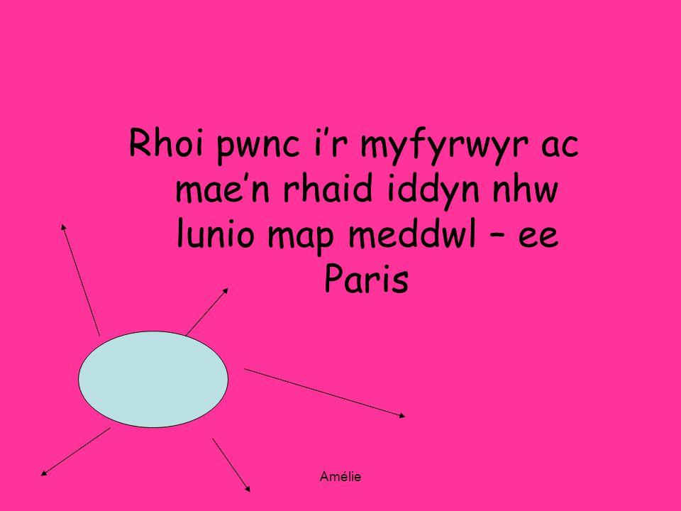 Amélie Rhoi pwnc ir myfyrwyr ac maen rhaid iddyn nhw lunio map meddwl – ee Paris
