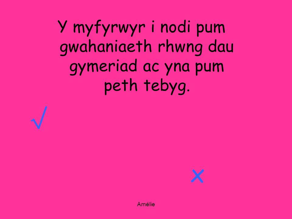 Amélie Y myfyrwyr i nodi pum gwahaniaeth rhwng dau gymeriad ac yna pum peth tebyg. x