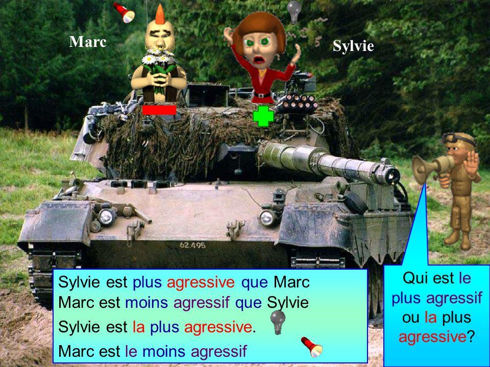 Marc est moins agressif que Sylvie Sylvie est plus agressive que Marc Marc est le moins agressif Sylvie est la plus agressive.