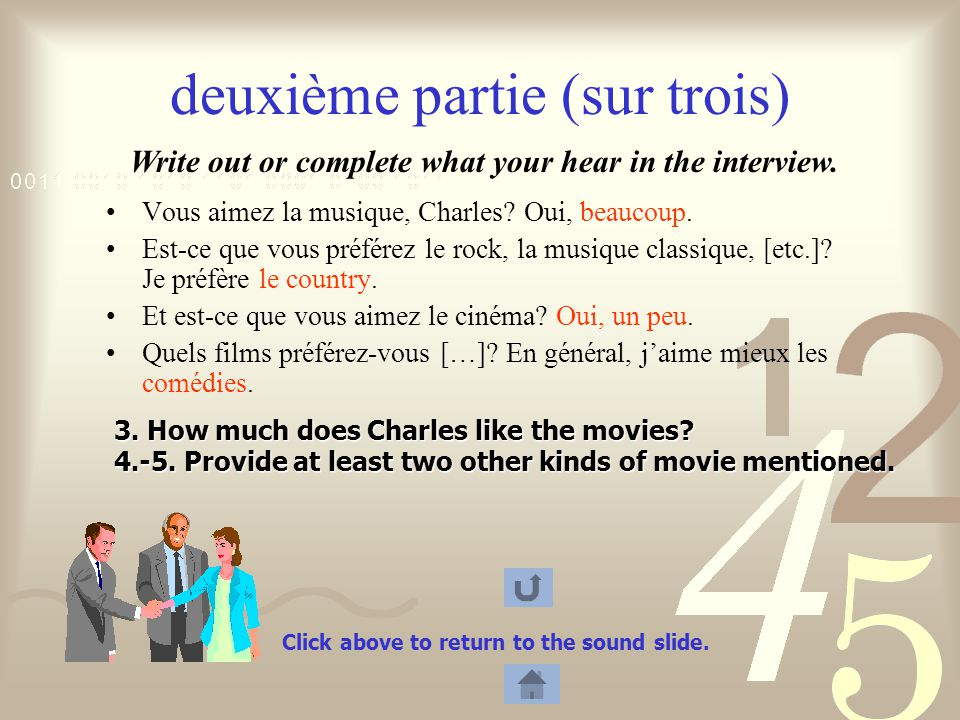 3.How much does Charles like the movies. 4.-5.