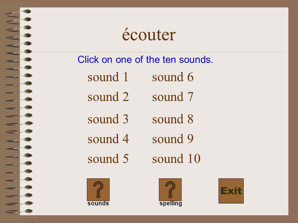 écouter tu écoutes il écoute nous écoutons vous écoutez ils écoutent Click on the words you heard or their equivalent.