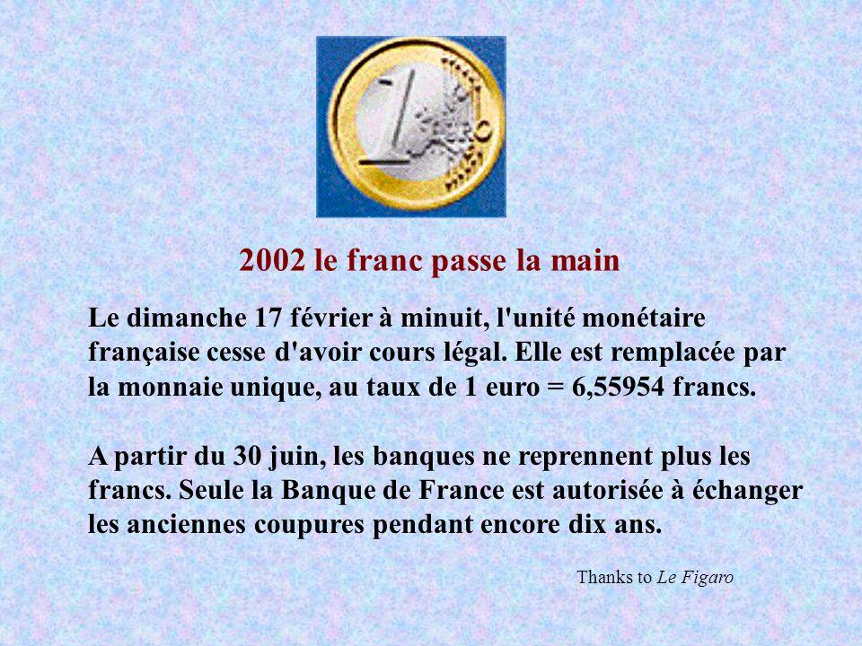 2002 le franc passe la main Le dimanche 17 février à minuit, l'unité monétaire française cesse d'avoir cours légal. Elle est remplacée par la monnaie