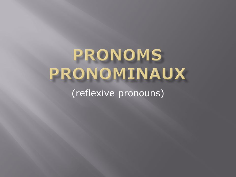 (reflexive pronouns)