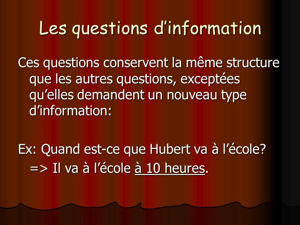 Les différents mots interrogatifs Comment: demande pour la manière dont une action est faite: Comment: demande pour la manière dont une action est faite: Comment viens-tu à lécole.
