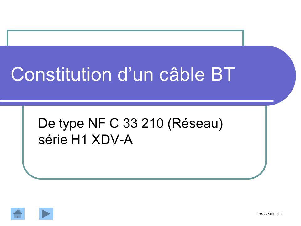 Constitution dun câble BT De type NF C 33 210 (Réseau) série H1 XDV-A PRAX Sébastien