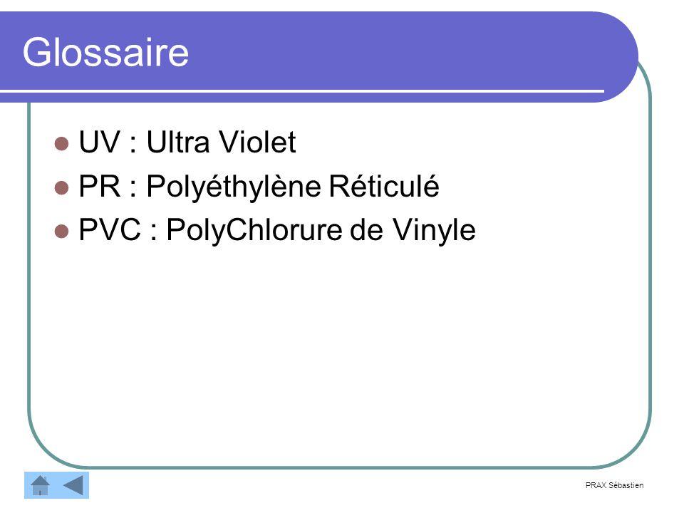 Glossaire UV : Ultra Violet PR : Polyéthylène Réticulé PVC : PolyChlorure de Vinyle PRAX Sébastien