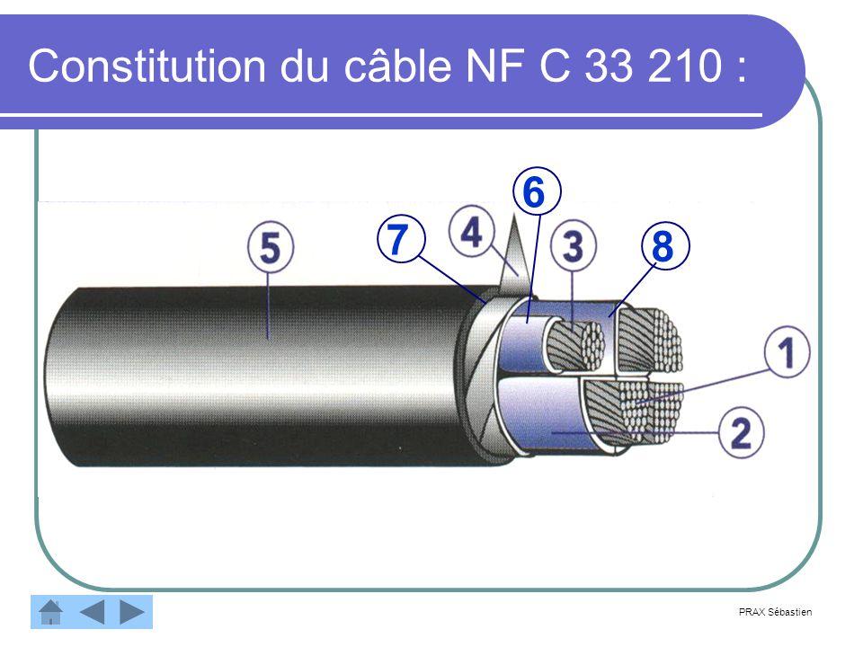 Constitution du câble NF C 33 210 : 8 6 7 PRAX Sébastien