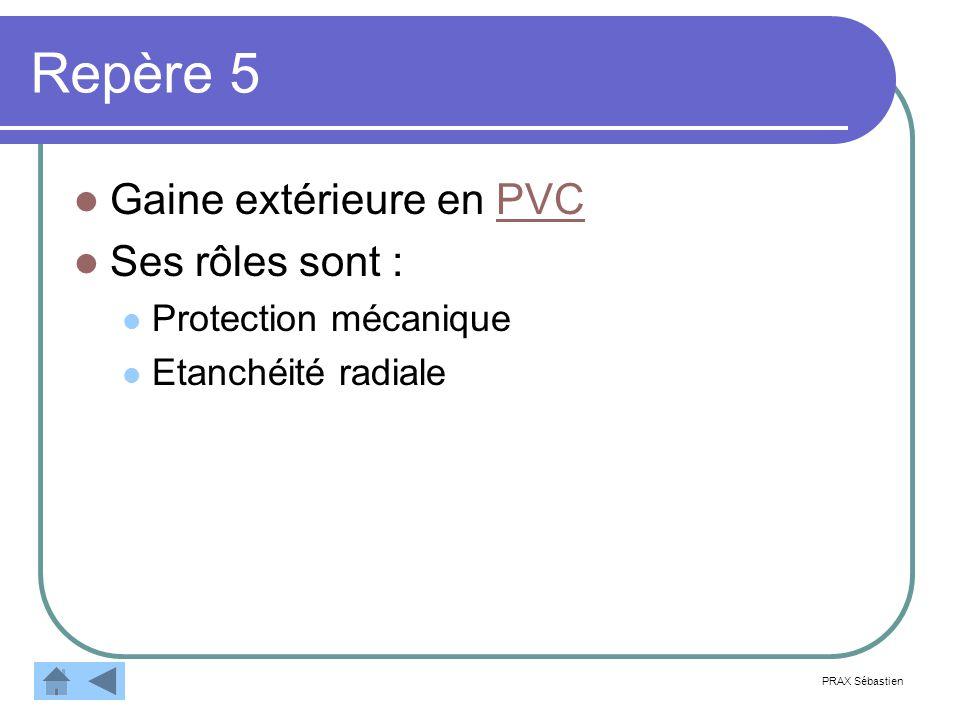Repère 5 Gaine extérieure en PVCPVC Ses rôles sont : Protection mécanique Etanchéité radiale PRAX Sébastien