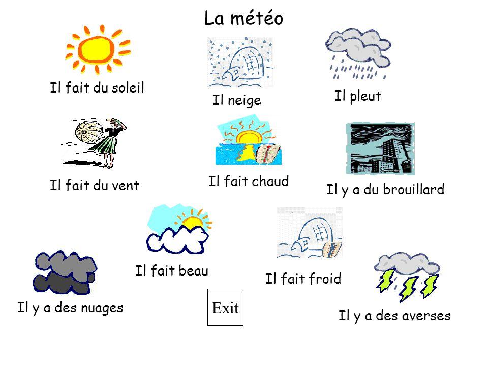 Exit Il fait beau Il fait du soleil Il fait froid Il neige Il y a des averses Il y a du brouillard Il pleut Il fait du vent La météo Il fait chaud Il y a des nuages