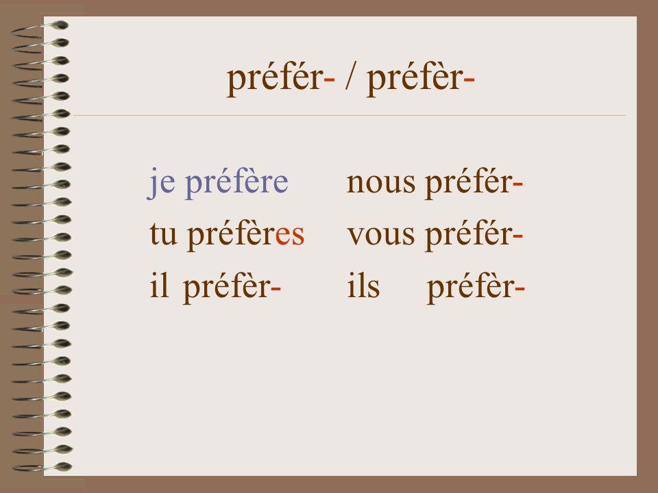 je préfèrenous préfér- tu préfèr-es vous préfér- il préfèr- ils préfèr- préfér- / préfèr-