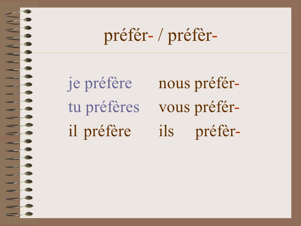 je préfèrenous préfér- tu préfères vous préfér- il préfère ils préfèr- préfér- / préfèr-