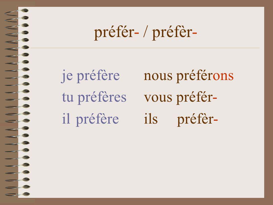 je préfèrenous préfér-ons tu préfères vous préfér- il préfère ils préfèr- préfér- / préfèr-