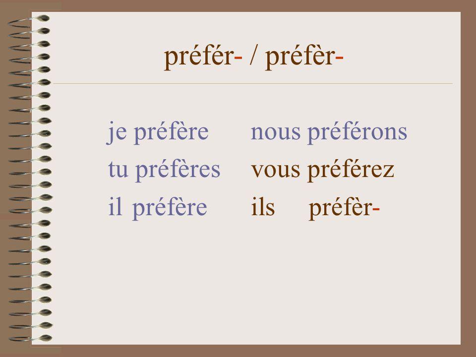 je préfèrenous préférons tu préfères vous préférez il préfère ils préfèr- préfér- / préfèr-